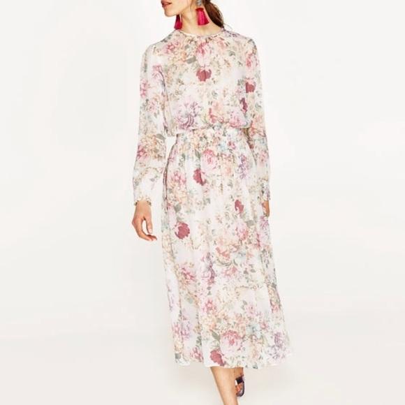 362bc03a3e Zara Dresses | Woman Romantic Floral Midi Dress | Poshmark